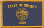 Oregon Embroidered Flag Patch, style 08.